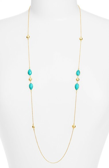 Argento Vivo Semiprecious Stone Station Necklace by Argentovivo