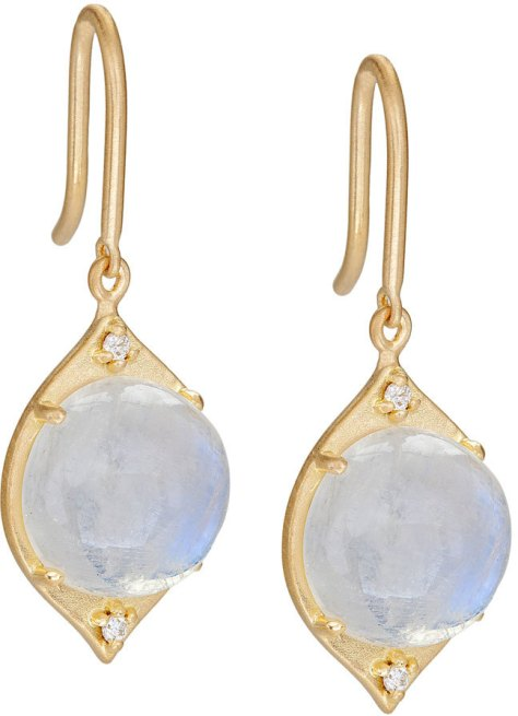 Jamie Wolf Aladdin Moonstone & Diamond Drop Earrings by Jamie Wolf