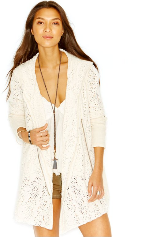 Free People Crocheted Asymmetrical Zipper Cardigan by Free People