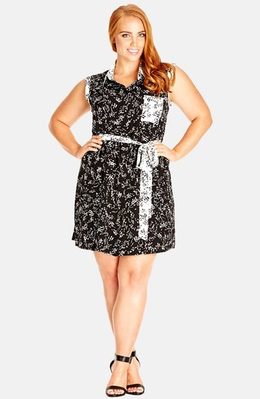 City Chic Reverse Graphic Tunic Dress (Plus Size) by City Chic