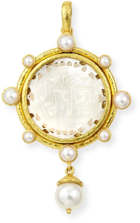 Elizabeth Locke Chinese Gaming Counter Pearl Pendant by Elizabeth Locke