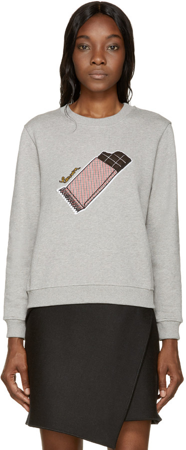 Carven Gray Chocolate Bar Patch Sweatshirt by Carven