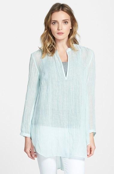 Eileen Fisher Organic Linen Mandarin Collar Tunic (Online Only) by Eileen Fisher