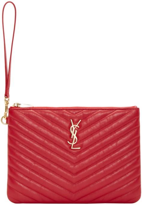 Saint Laurent Red Quilted Leather Monogram Pouch by Saint Laurent
