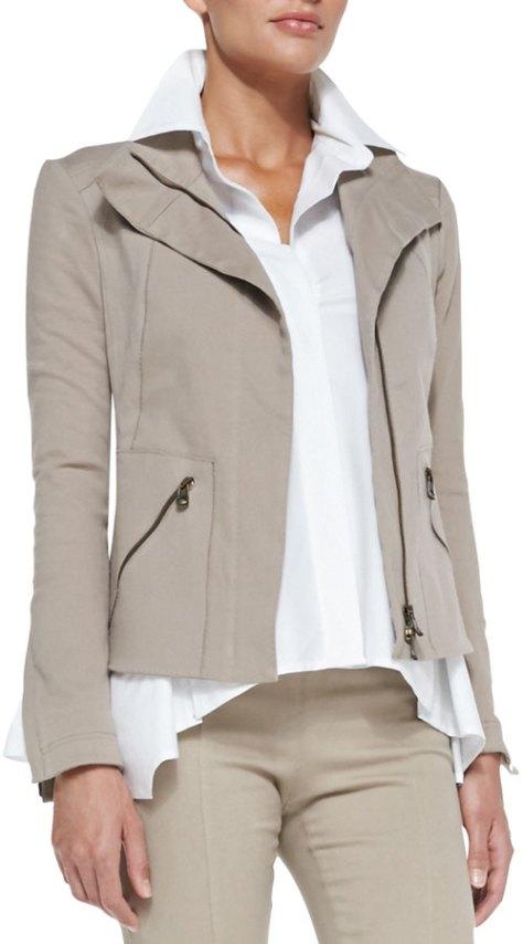 Donna Karan Stretch Denim Zip Jacket, Putty by Donna Karan