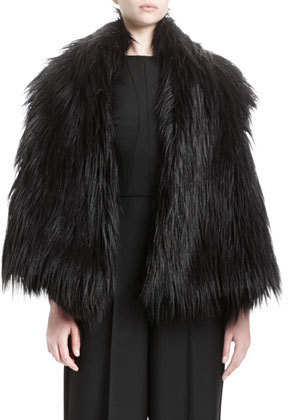 Stella McCartney Lynn Faux-Fur Vest, Black by Stella McCartney
