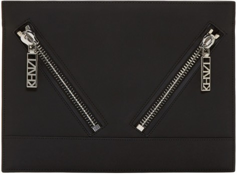 Kenzo Black Gommato Leather Flat Pouch by Kenzo