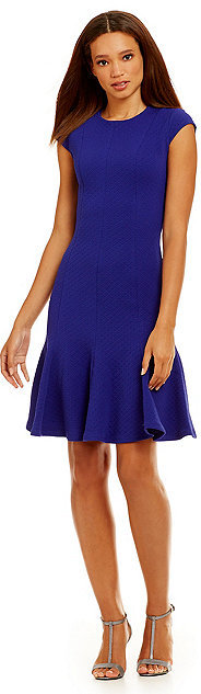 Calvin Klein Cap-Sleeve Fit & Flare Dress by Calvin Klein