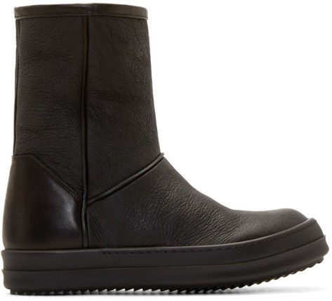Rick Owens Black Shearling Ankle Boots by Rick Owens