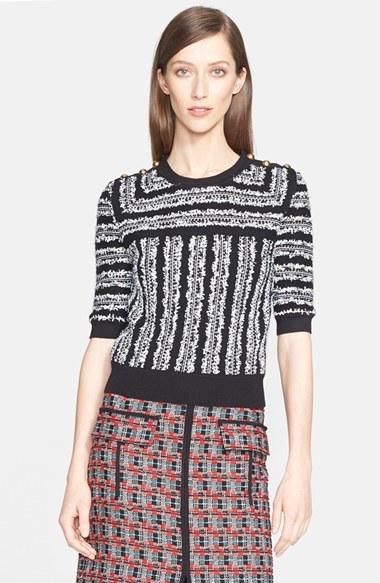 Oscar de la Renta Elbow Sleeve Tweed Knit Pullover by Oscar de la Renta