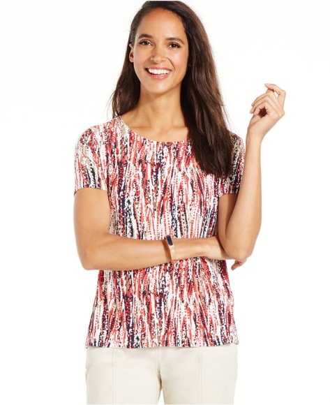 JM Collection Petite Printed Jacquard Tee by JM Collection