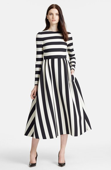 Valentino Stripe Wool & Silk Dress by Valentino